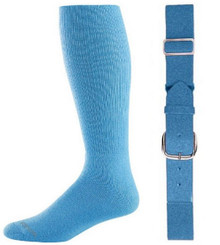 Light Blue Baseball Socks & Belt Combo (1 Pair of Socks & 1 Belt)