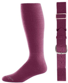 Maroon Baseball Socks & Belt Combo (1 Pair of Socks & 1 Belt)