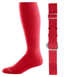 Red Baseball Socks & Belt Combo (1 Pair of Socks & 1 Belt)