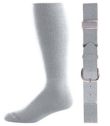 Silver Grey Baseball Socks & Belt Combo (1 Pair of Socks & 1 Belt)