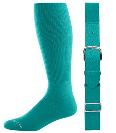 Teal Baseball Socks & Belt Combo (1 Pair of Socks & 1 Belt)