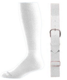 White Baseball Socks & Belt Combo (1 Pair of Socks & 1 Belt)