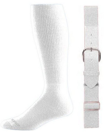 White Baseball Socks & Belt Combo (1 Pair of Socks & 1 Belt)