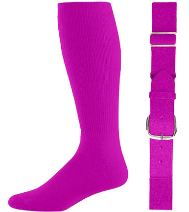 Power Pink Baseball Socks & Belt Combo (1 Pair of Socks & 1 Belt)