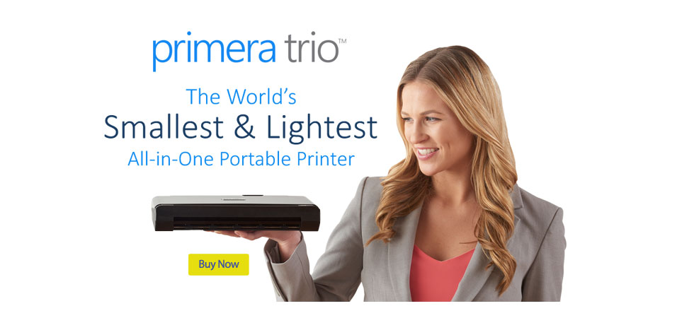 Primera Trio - the World's smallest and Lightest All-in-one portable printer.