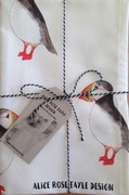 Puffins T Towel designed by Alice Rose Fayle - folded