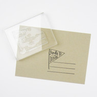 Kindly Deliver To Pennant with Lines - Clear Stamp