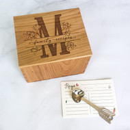 Handmade floral split monogram wood recipe card box by Paper Sushi.  A lovely gift for newlyweds or your favorite cook!