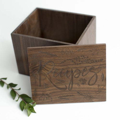Herbs handmade wood recipe box by Paper Sushi