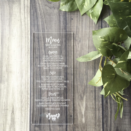 Laser engraved acrylic menus by Paper Sushi