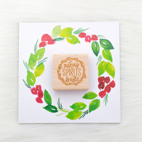 Making Spirits Bright Rubber Stamp by Paper Sushi #christmas #giftwrap