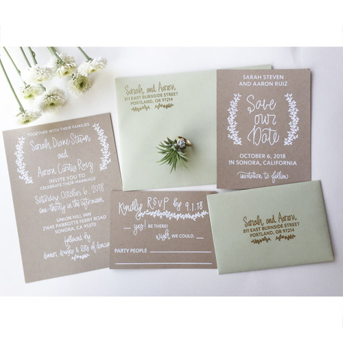Laurel Wedding Invitation Stamp Suite by Paper Sushi