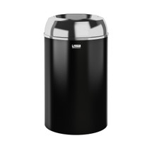 Suncast Metal Indoor Trash Can - 30 Gallon Brushed Aluminum Lid / Black PC Base