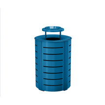 Suncast Metal Trash Can - Metal Lid - Blue