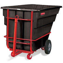 Rubbermaid Commercial Towable Tilt Truck, Rectangular, Plastic, 2100-lb Cap., Black