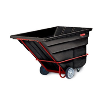 Rubbermaid Commercial Rotomolded Tilt Truck, Rectangular, Plastic, 2300-lb Cap., Black