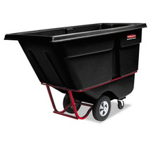Rubbermaid Commercial Rotomolded Tilt Truck, Rectangular, Plastic, 1400-lb Cap., Black