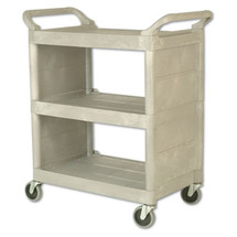 Rubbermaid Commercial Utility Cart, 300-lb Cap., 3 Shelves, 18w x 32d x 37 1/2h, Platinum