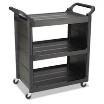 Rubbermaid Commercial Service Cart, 150-lb Cap., 3 Shelves, 18 5/8w x 33 5/8d x 36 5/8h, Black