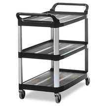 Rubbermaid Commercial Open Sided Utility Cart, 3-Shelf, 40-5/8w x 20d x 37-13/16h, Black