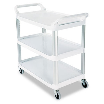 Rubbermaid Commercial Open Sided Utility Cart, 3-Shelf, 40-5/8w x 20d x 37-13/16h, Off-White