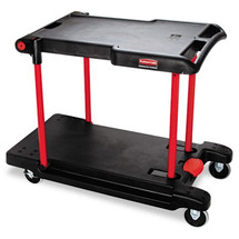 Rubbermaid Commercial Two Shelf Convertible Utility Cart, 23-3/4w x 45-1/4d x 43-3/4h, Black