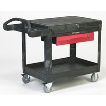 Rubbermaid Commercial TradeMaster Cart, 500-lb Cap., 1 Shelf, 38 5/8w x 52 1/2d x 37 7/8h, Black