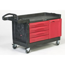 Rubbermaid Commercial TradeMaster Cart, 750-lb Cap., 1 Shelf, 26 3/8w x 58 5/8d x 33 1/4h, Black