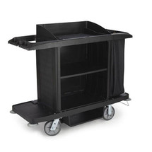 Rubbermaid Commercial Full-Size Housekeeping Cart, 3 Shelves, 22w x 60d x 50h, Black