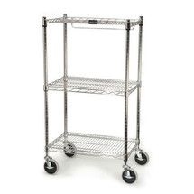 Rubbermaid Commercial ProSave Shelf Ingredient Bin Cart, 3 Shelves, 18w x 26d x 47 3/4, Chrome