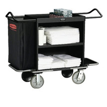 Rubbermaid Commercial High-Capacity Housekeeping Cart, 3 Shelves, 22w x 55d x 44h, Black