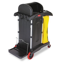 Rubbermaid Commercial High-Security Healthcare Cleaning Cart, 22w x 48-1/4d x 53-1/2h, Black