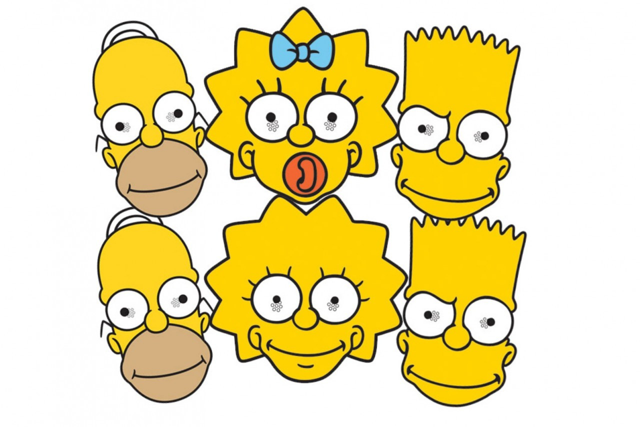 The Simpsons Party Face Masks Set Of 6 (Homer, Bart ...