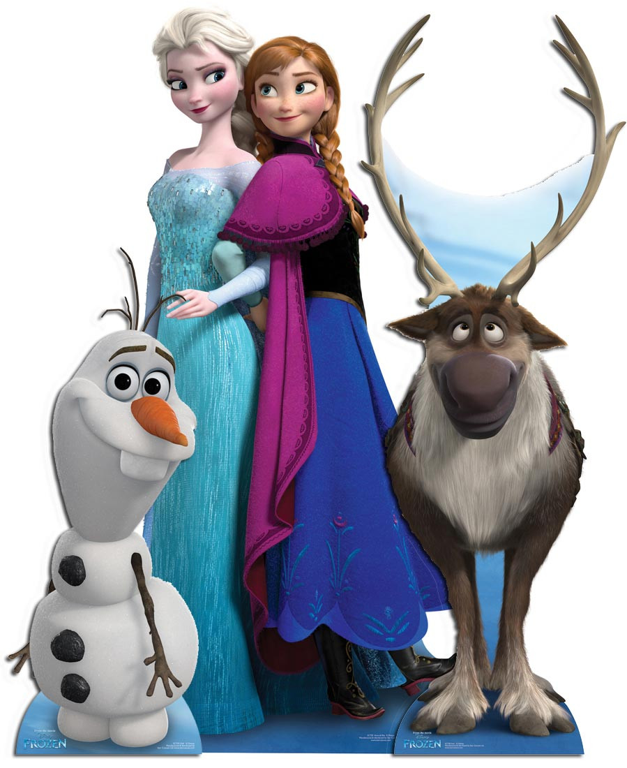 frozen anna elsa and olaf child size cardboard stand in cutout standee party ebay. Black Bedroom Furniture Sets. Home Design Ideas