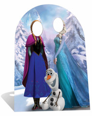 Child Size Disney Frozen Anna and Elsa with sitting Olaf Cardboard Stand-in Cutout / Standee