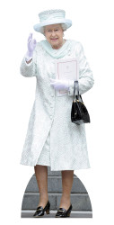 Queen Elizabeth in White Coat Lifesize Cardboard Cutout