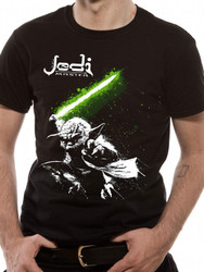 Yoda with Glowing Green Lightsaber Official Star Wars Unisex T-Shirt