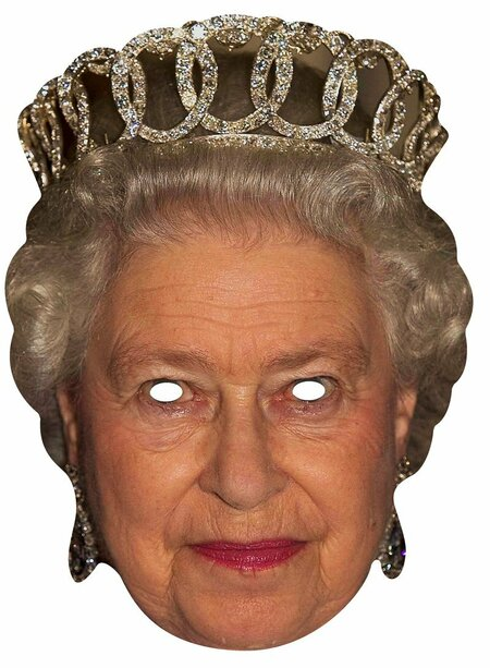 queen elizabeth ii royal card party face mask  in stock