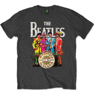 The Beatles Sgt Pepper's Logo Charcoal Official Unisex T Shirt