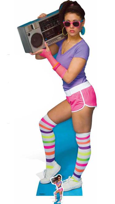 1980s Boombox Girl Lifesize and Mini Cardboard Cutout