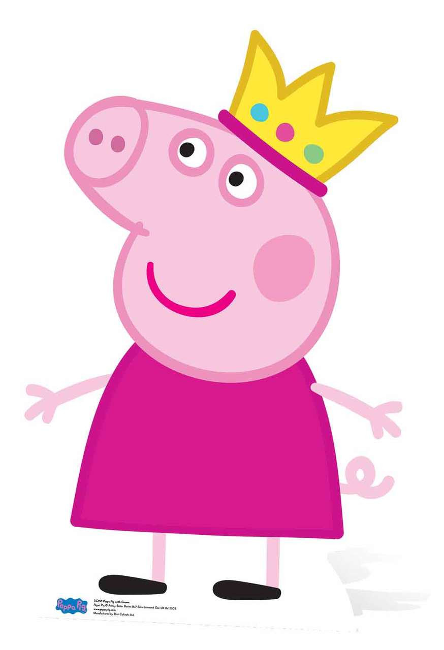 Princess Peppa Pig wearing crown lifsize cardboard cutout buy now at Starstills__98391