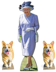 Queen Elizabeth II Lilac Dress with 2 Royal Corgis Cardboard Cutout Set