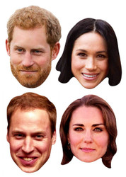Royal Wedding 2018 Face Masks - Young Couples 4 Pack inc Harry & Meghan