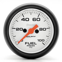 Auto Meter Phantom - Fuel Pressure Gauge: 0-100 PSI