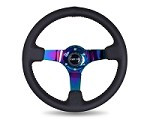 "NRG Innovations 350MM SPORT STEERING WHEEL (3"" DEEP) - BLACK LEATHER W/ RED BASEBALL STITCHING - NEOCHROME CENTER"