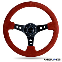 "NRG Innovations 350MM SPORT STEERING WHEEL (3"" DEEP) - RED SUEDE W/ BLACK STITCH"