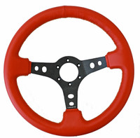 "NRG Innovations SPORT STEERING WHEEL (3"" DEEP) RED LEATHER W/ YELLOW STITCHING"