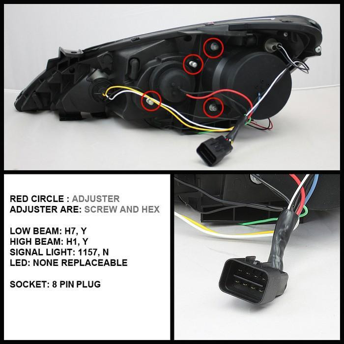 spyder headlights with angel eyes black 2010 2012 genesis coupe 9004 Headlight Relay at Spyder Headlight Replacement Wire Harness
