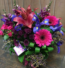 Fishbowl Arrangement Berry Tones Classic