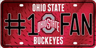 Ohio State Buckeyes Fan Embossed Metal License Plate